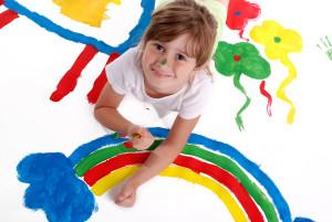 Girl painting rainbow clip Art