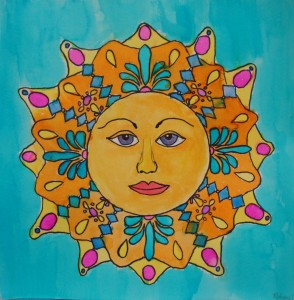 Sun, Watercolor, by Madison, age 12