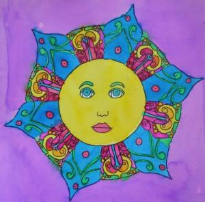 Sun watercolor, by Riley, age 9
